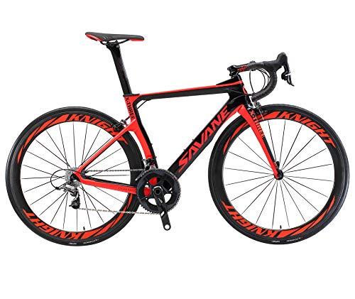 SKNIGHT Phantom3.0 Kohlefaser Rennräder,T800 Voll Carbon Rennrad 700C Fahrrad mit Shimano Ultegra R8000 22-Gang Groupset Continental Reifen und Fizik Sattel (Schwarz rot, 54CM)
