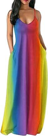 Women's Rainbow Print Long Dress Straps V Neck Sleeveless Pockets Boho Maxi Dress