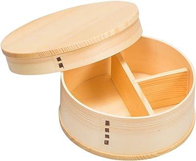 山下工芸(Yamashita kogei) 弁当箱 ナチュラル φ13×H5.5cm 白木 丸 一段 弁当 32283