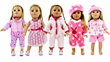 AOFUL 5 Lots Bitty Baby Doll Dress Clothes, Fashion Bunny Pink Pajamas Romper Skirt Outfits Fits 16-18' inch American Girl Dolls Set of 5