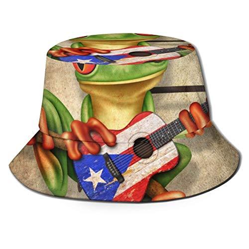 XBYC Laubfrosch spielt Puerto Rico Flagge Gitarre Poster Neuheit Spring Fisherman Cap, lässig UV-Schutz weich bequem perfekt für Frauen, Männer, Jugendliche, Jugend, Jagd, Camping, Golf, Angeln, Wand