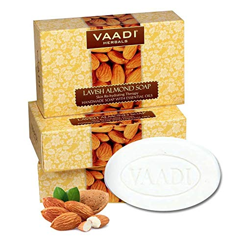 Almond Oil Bar Soap with Honey and Aloe Vera Extracts - Handmade Herbal Soap with 100% Pure Essential Oils - ALL Natural - Each 2.65 Oz - Pack of 3 (8 Oz) - Vaadi Herbals