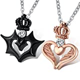 Aienid Couple Necklace Set for His and Hers Queen and King Necklaces Stainless Steel Devil and Angel Crown