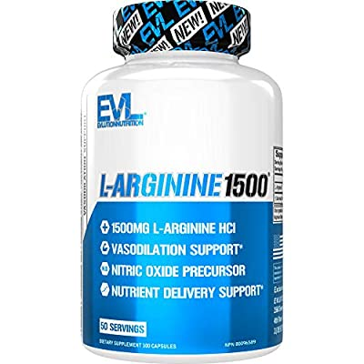 Evlution Nutrition L-Arginine 1500 mg, Ultra-Pure Nitric Oxide Supplement, Muscle Growth and Vascularity, Energy & Stamina, Powerful NO Booster, Essential Amino Acids (100 Capsules)