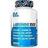 Evlution Nutrition L-Arginina 1500mg - Suplemento Puro de Óxido Nitrico, Crecimiento Muscular y Vascularidad, Energía y Estamina, Poderoso Potenciador de NO, Amino Ácidos Esenciales, 100 Cápsulas