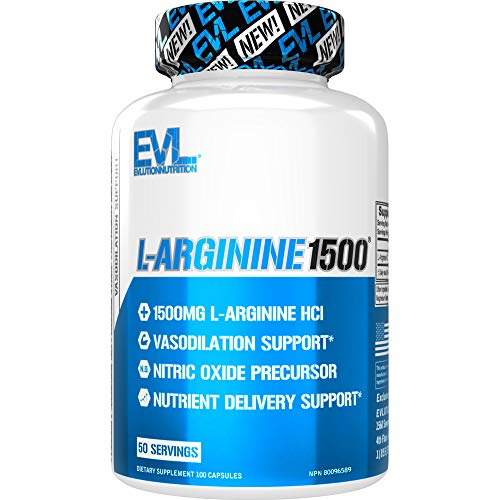 Evlution Nutrition L-Arginine - 1500mg Nitric Oxide Supplement for Vascularity, Energy and Muscle Growth NO Booster (50 Servings)