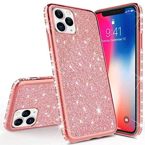 Surakey Cover Compatibile con iPhone 11 Pro Max Custodia Silicone Morbido Glitter Brillantini Diamante Case e Specchio con Trasparente TPU Bumper Moda Custodia per iPhone 11 Pro Max,Bianco