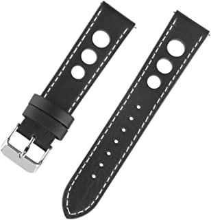 Ivystore 20/22/24mm 3 Holes Genuine Italian Leather Rally Racing Sport Watch Strap with Quick Release Spring Bar