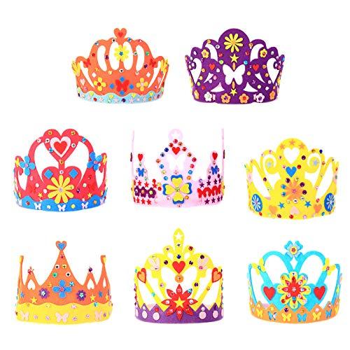 MEZOOM 8Stk Prinzessin Kronen DIY Kinderkronen zum Basteln Königin Partyhüte Mädchen Filzkrone für Prinzessin Party Geburtstag Geschenk Karneval Kostüm Foto Requisite
