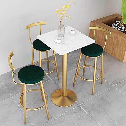 HQBL Marmor runder/quadratischer Stehtisch für draußen/drinnen, mit goldenem Metalleisenbein und -fuß - 41 Zoll Höhe tragbare Cocktailtische Set für 2 - Weiß