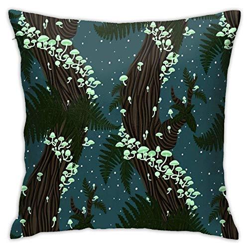 Funda de almohada, diseño de hongos mágicos en el bosque, a pequeña escala, funda de cojín moderna, decoración cuadrada de piilloase para sofá, cama, silla, coche, 45,7 x 45,7 cm