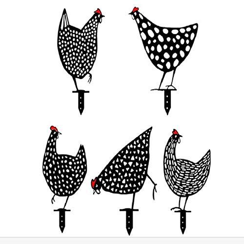 KANUBI 5 Stück lebensechte Henne Huhn Hof Kunst Dekoration Garten Polnische GartenkunstGarten Ornamente, Acryl Hohlhaus Simulation schwarz Huhn Einsatz Karte(Kunststoffherstellung)