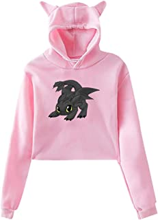 Toothless Dragon Womans Cat Ear Hoodie Sweater Funny Long Sleeve Sweater