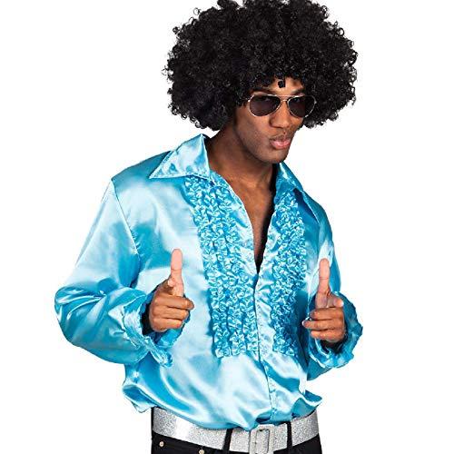 Boland 02156 - Disco Hemd mit Rüschen, Türkis, Größe M/46-48, für Herren, Kostüm, Party Shirt, Schlagermove, 70er Jahre, Mottoparty, Karneval
