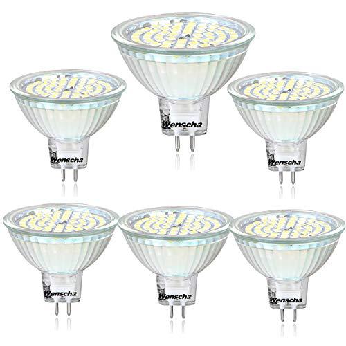 Wenscha MR16 LED Neutralweiss, 6er MR16 GU5.3 12V LED Lampe, 5W Neutralweiß 4000K Tageslicht Ersetzt 40W Glühlampe, Kein Stroboskopeffekt, 400Lumen Birne Leuchtmittel, 120° Abstrahwinkel Spot