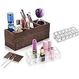 Wood Makeup Brush Organizer with 2 Pcs 12 Slot Acrylic Lipstick Organizer, Adjustable Holder for Makeup Brushes, Eyeliners, lipstick, Nail Polish, Lotions