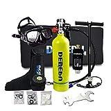 Carro Armado de inmersión Scuba Diving Cylinder portátil, bombona de 1 litro de oxígeno, capacidad de 20 minutos, respirador subacuático, kit de herramientas de inmersión para snorkeling, verde