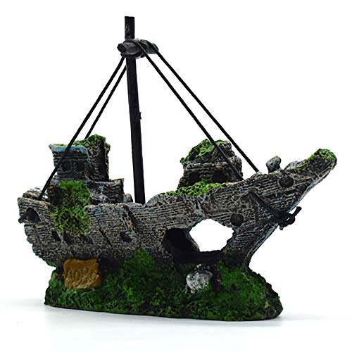 BRKURLEG Ornamente für Aquarien, Aquarium Deko,Corsair Schiff Versunkene Boot Segelschiff für Aquarium Dekoration,ideal für kleine Garnele Fisch Schildkröte