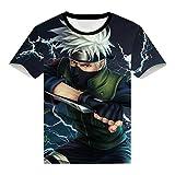 EDMKO Unisex Camiseta Naruto 3D Divertidas Impresa T-Shirt De Manga Corta Casual Hipster Hatake Kakashi Adolescentes Fanáticos del Cómic Hombres Y Mujeres,XX~Large