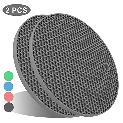 UXUNNY FDA Silicone Pot Holders, Kitchen Heat Resistant Trivets - Honeycomb Coasters & Nonslip Jar Openers, Hot Pot Pads, Hot Table Mat, Place Mats, Oven Mitts for Cooking & Baking (2pcs Gray)