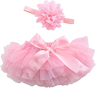 Baby Girls Bloomers Infant Toddlers CottonTulle Ruffle Bow Diaper Cover and headhand