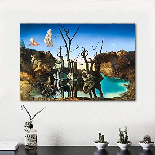 SHAZHU Tableau Decoration Murale Cygnes Reflétant Les Éléphants Abstrait Peinture sur Toile Affiches Et Art Mural Impression Image Salon Décoration Photos60x80cm