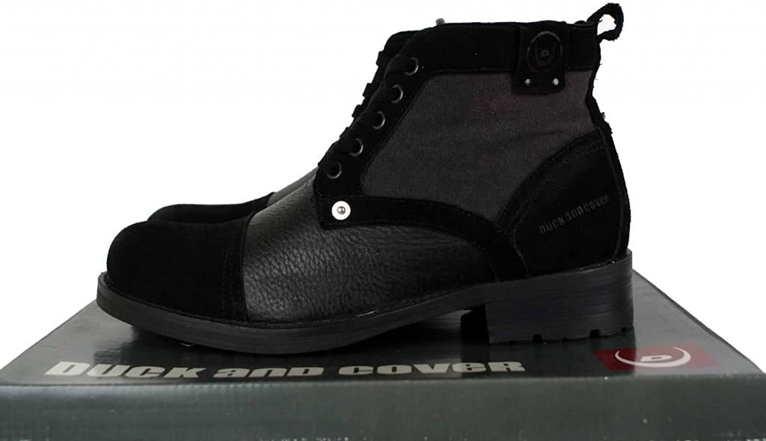 Duck and Cover Allingham Leather and Suede Ankle Boots DAC19135 Black UK 9 - EU 43