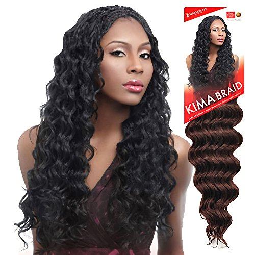 "Harlem125 Synthetic Crochet Hair Kima Braid - OCEAN WAVE 20"" (1B Off Black)"
