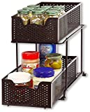 SimpleHouseware 2 Tier Sliding Cabinet Basket Organizer Drawer, Bronze