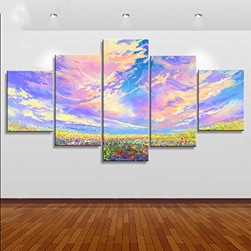 5 Canvas paintings Art Poster Wall Picture Beautiful Flower Garden Modern Painting Home Decor Print On Canvas For Living Room Frameless