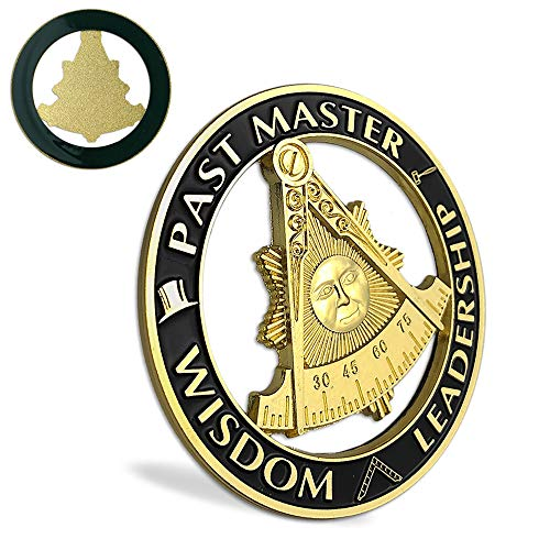 ASmileIndeep Past Master Masonic Car Emblem Black & Golden Mason Auto Decal