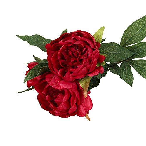 Jia HU 1 Lot Fleurs Artificielles Pivoine de Pivoine arrangements plantes d'intérieur Bureau Décoration extérieure Red