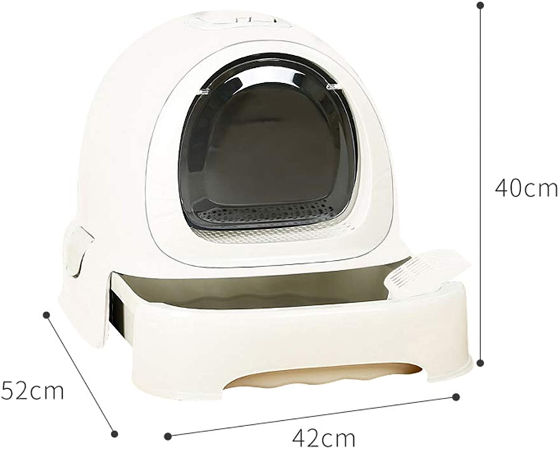QIQI Cat Toilet Cat Litter Pan Fully Enclosed Antispatter Cat Litter Box Pet Supplies 42  52  40cm (color   White)