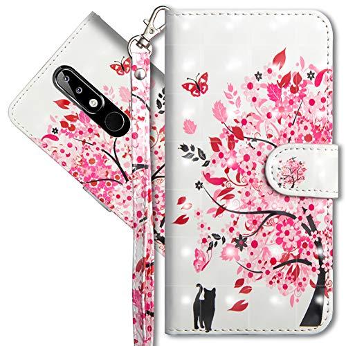 MRSTER Nokia 5.1 Plus Handytasche, Leder Schutzhülle Brieftasche Hülle Flip Case 3D Muster Cover mit Kartenfach Magnet Tasche Handyhüllen für Nokia 5.1 Plus 2018. YX 3D - Tree Cat