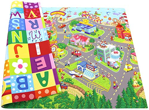 Baby Care Play Mat - Playful Collection (Large, Zoo Town) - Play Mat for Infants – Non-Toxic Baby Rug – Cushioned Baby Mat Waterproof Playmat – Reversible Double-Sided Kindergarten Mat