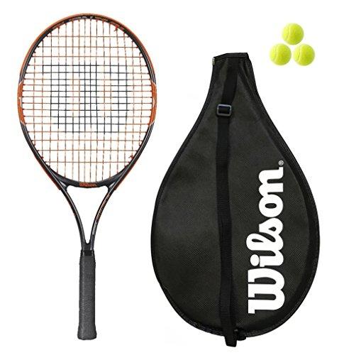 Wilson, Burn Junior 19, 21, 23, 25,racchetta da tennis con 3palline rosa e arancioni per ragazze e ragazzi, Orange, 23