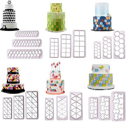 Ecosway Ausstechform aus Kunststoff für Kekse, geometrische Formen, 3 Größen, handgefertigt, für Fondant, Kuchendekoration, 18 Stück