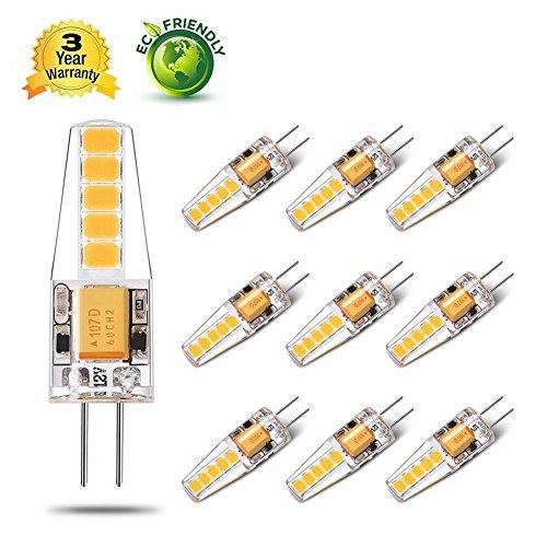 Yuiip Ampoule LED G4 Lampe 2W AC/DC 12V Equivalent à Lampe Halogène 20 W Blanc Chaud 2800K SMD 2835 LED 200 LM, Non-Dimmable, 360° Angle de Faisceau, Pack De 10 [Classe énergétique A++]