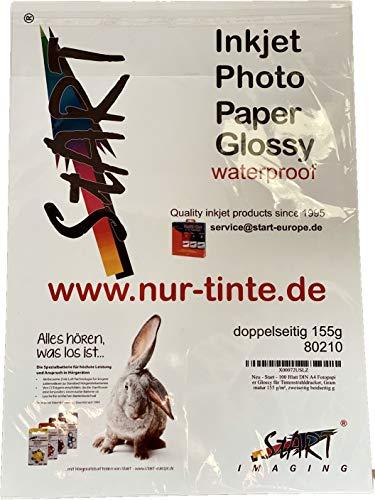 Start - 100 Blatt beiseitig glossy, DIN A4 155 g/m² Fotopapier für Tintenstrahldrucker (InkJet), sofort trocken, wasserfest, hochweiß, hohe Farbbrillianz, beidseitig glänzend