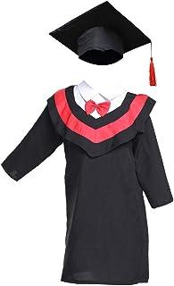 Amosfun Toga Laurea e Tocco Cappello Laurea Costume Laureato per Bambini Studenti di Altezza 110cm (Linea Rossa)