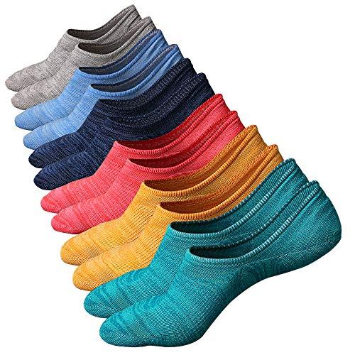 Ueither Calcetines de hombre antideslizantes de algodón de corte bajo (Tamaño:44-48, Color 3 (6 Pares))