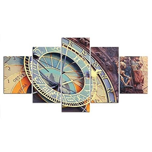 DGGDVP Arte Impreso en la Pared, Carteles en Lienzo, 5 Piezas, Pinturas, imágenes de Reloj para Sala de Estar, decoración del hogar, tamaño 1 con Marco