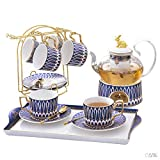 HKX Cup and Saucer Set Porcelain Tea Set Afternoon Tea Tea Set Household Fruit Teapot Candle Heating