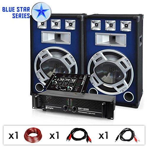 DJ PA Set Blue Star Series Bassmix 1600 Watt Anlage Boxen, Verstärker, Mixer + Kabel (für 250 Personen, musiksensitiver blauer LED-Lichteffekt, Stereo-Cinch-Anschluss) blau