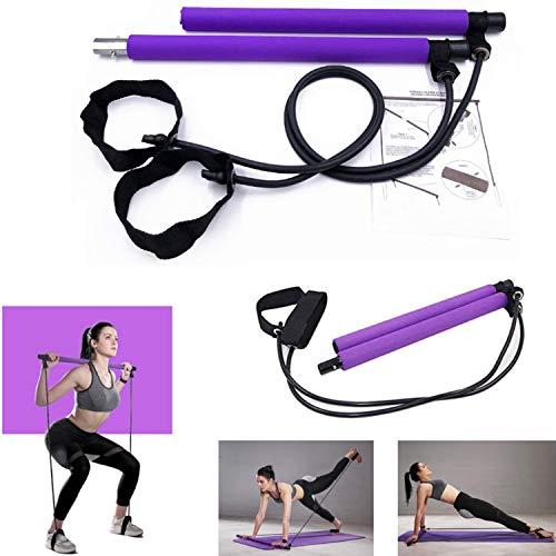 Kit de Barra de Pilates con Banda de Resistencia, Ejercicio Pilates Portátil con Foot Loop para Entrenamiento Corporal Total Cuerda de Tracción con Barra de Yoga