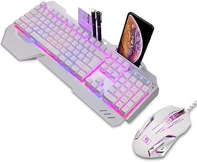 KJRJJP Gaming-Tastatur Wired Keyboard Schwimmdock ruhig Ergonomische Water-Resistant Mechanische Gef hl Keyboard Tastatur Ultra-D nne Regenbogen-LED Backlit for Desktop-Computer Color White Schätzpreis : 96,38 €