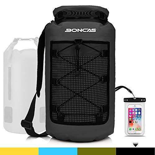 Boncas Mochila impermeable, bolsa seca con teléfono resistente al agua, bolsa seca impermeable ideal para kayak, pesca, rafting, 10L, Black Waterproof Backpack