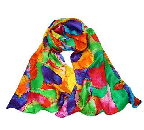 prettystern Damen Langer Seidenschal Handgerollt Kandinsky farbstudie Quadrate Inspiriert - Bunt Farbenspiel P799