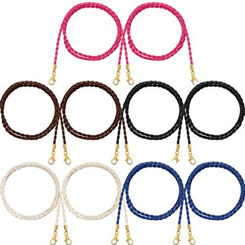 LIPIODOL 10Pcs Cordones para Gafas Mujer Cuero Trenzado Cadena Cuerda Collar para Mascarilla Vintage Accesorios para Gafas Universales para Gafas Mujer Correa Colgante Mujer Hombre Niños