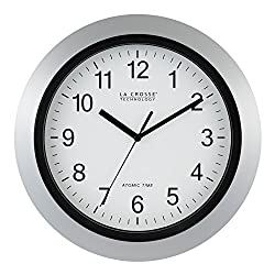 La Crosse Technology WT-3129S 12 Inch Atomic Analog Wall Clock-Silver, 12